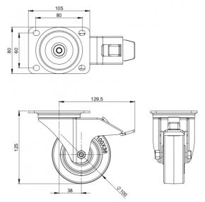 Lenkrolle 100 mm mit Feststeller