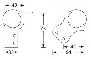 Kugelecke groß mit integrierter L-Ecke 75 mm