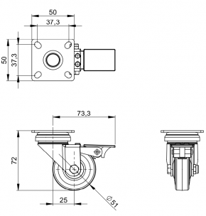 Lenkrolle 50 mm mit Feststeller