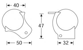Kugelecke mittel mit integrierter L-Ecke 47 mm