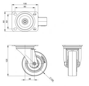 Lenkrolle 100 mm
